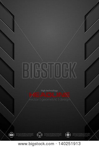 Black abstract concept technology background. Vector design