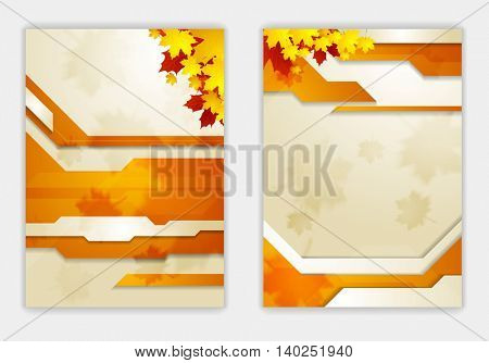 Bright orange autumn leaves flyer template. Vector background
