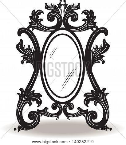 Vintage round ornamented frame. Vector decorated frame