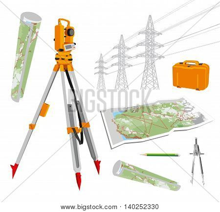 Surveying instruments - theodolite with maps and compasses, pencil, power lines. Isolated vector set illustrations on white background. Vector illustration. eps 10.