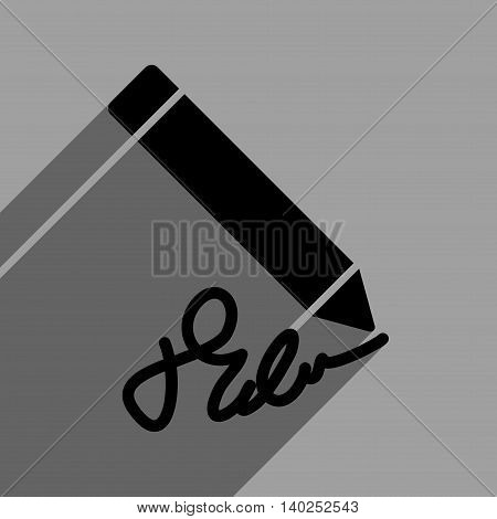 Writing Pencil long shadow vector icon. Style is a flat writing pencil black iconic symbol on a gray square background with longshadow.