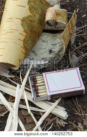 Matches And Kindling For A Fire In Field Conditions