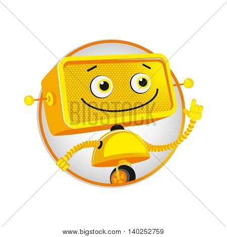 Funny yellow robot. Good cheerful yellow robot on white background. Vector illustration. Eps10