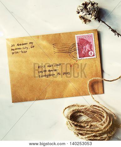 Postcard Vintage Rope Flower Concept