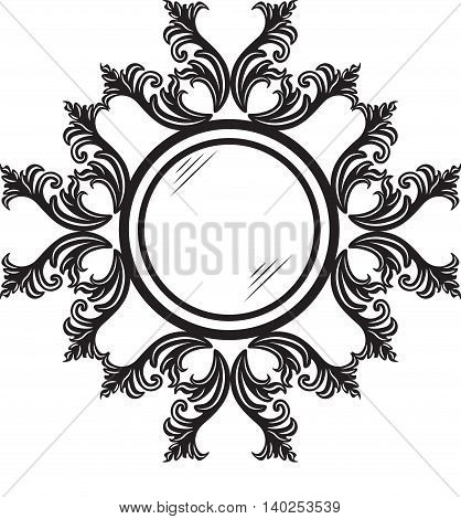 Vintage round ornamented frame. Vector decorated frame