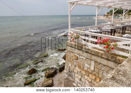 Nessebar, Bulgaria, Juny 18, 2016: Cozy Cafes On The Waterfront Town Of Nessebar