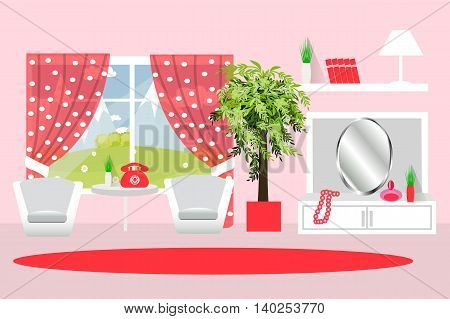 Living room furniture for the room, potted plant, curtains, armchair, mirror, bookshelf, jewelry, vector and