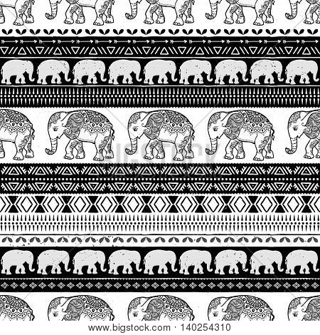 Card with Elephant. Frame of animal made in vector. Pattern Illustration for design, pattern, textiles. Hand drawn map with Elephant and mandala. Use for children clothes, pajamas