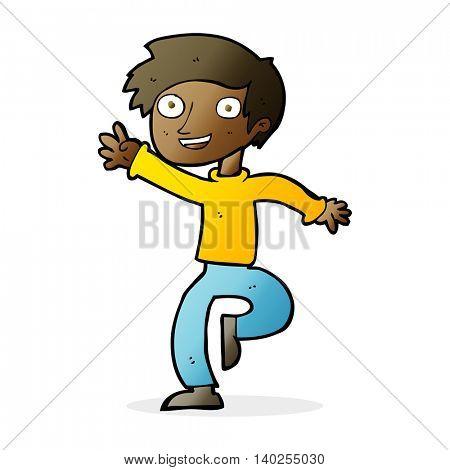 cartoon excited boy dancing