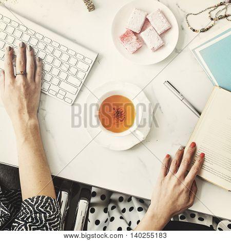 Women Friends Femininity Working Workspace Concept