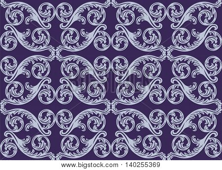 Vector damask pattern ornament. Exquisite Baroque element template. Classical luxury fashioned damask ornament Royal Victorian texture for textile wrapping. Royal blue color