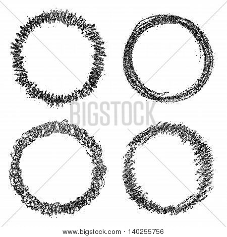 Set of hand drawn scribble round frames. Vector design elements