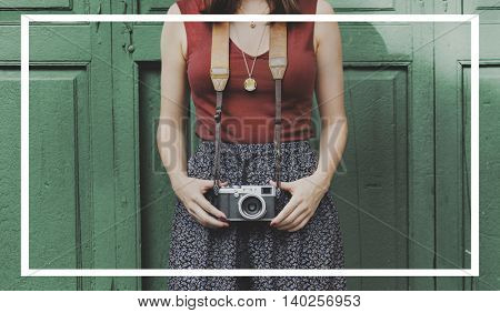 Female Photographer Leisure Frame Graphic Concept
