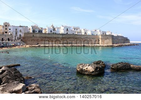Panoramic view of Monopoli. Puglia, Southern Italy. Sea in summer. Italian resort.