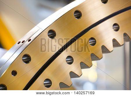 big steel gear shot close-up photo Metallic