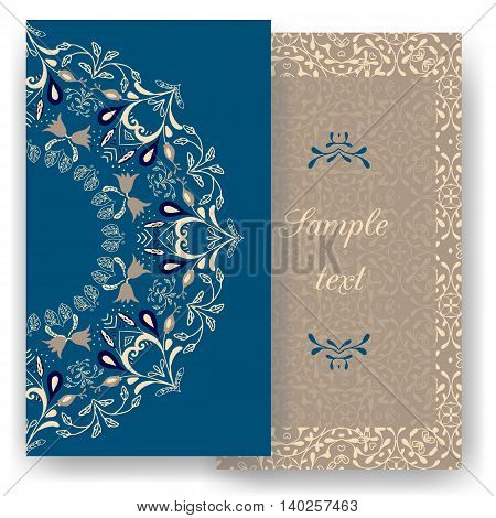 Vintage romantic cards. Floral decorations, leaves, flowers patterns ornaments. Vector. Luxury elegant. Retro template design for Restaurant, Royalty, Boutique, Hotel Jewelry Fashion Real estate