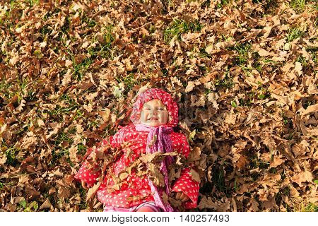cute little girl playing with autumn fall leaves