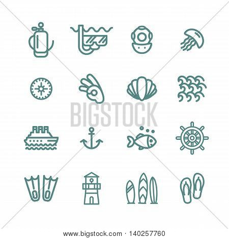 Sea and diving symbol icon illustration set