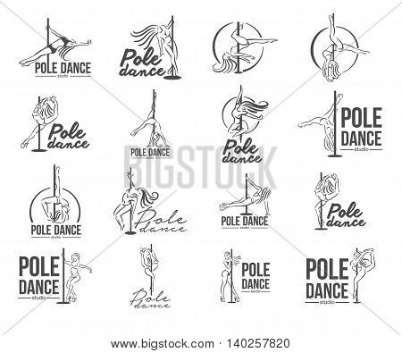 Strip Dance girl line sketch logo illustration