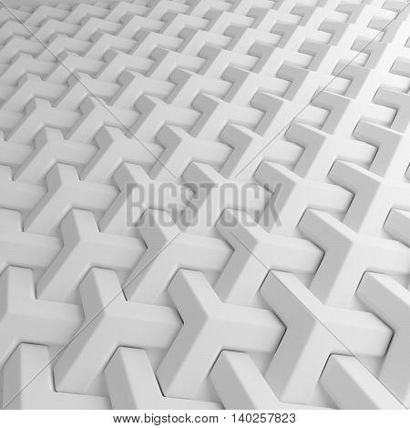 White abstract cubes lattice backdrop. 3d rendering geometric polygons, as tile wall. Interior room