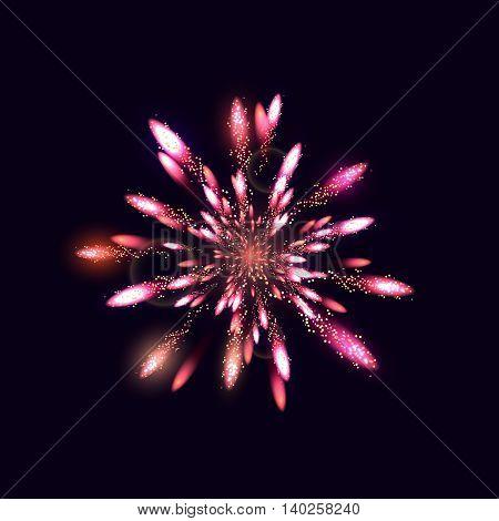 Fireworks from fire on dark background, vector illustration