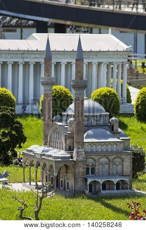 ISTANBUL, TURKEY - 4 APRIL, 2016: Miniaturk in Istanbul, Turkey. Miniature copies of the Ancient World Architecture