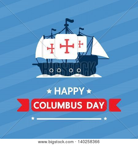 Happy columbus day. vector cartoon design .