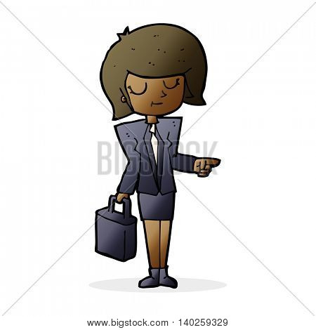 cartoon businesswoman pointing
