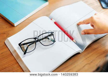 Textbook Glasses Pen Library Concept