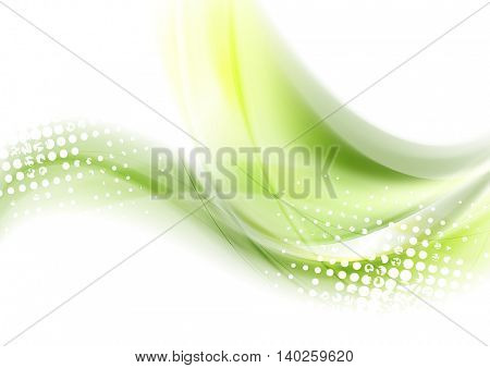 Abstract green waves shiny background. Vector graphic design