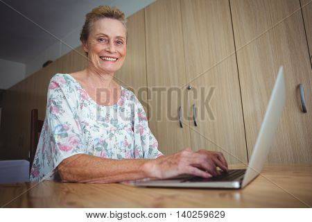 Portrait of smiling senior woman using a laptop looking at camera