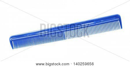 Blue plastic comb isolated on white