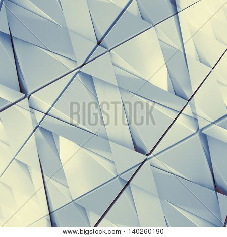 Abstract 3D illustration of triangles with double exposure effect