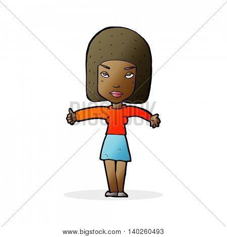 cartoon woman giving thumbs up symbol