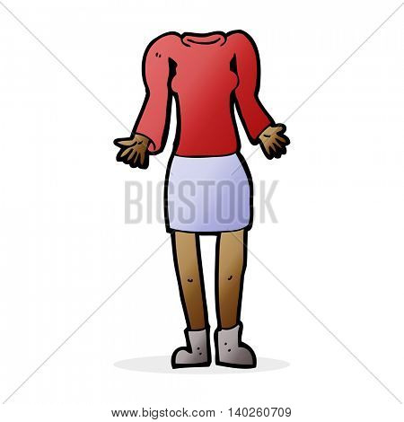 cartoon female body shrugging shoulders (mix and match cartoons or add own photos)