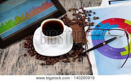 Financial charts and a cup of coffee and chocolate