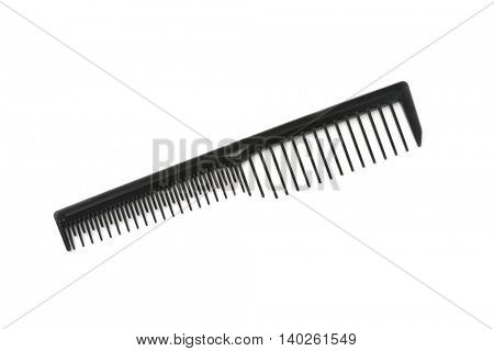 Barber plastic comb isolated on white