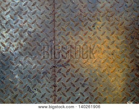 The damage metal diamond plate background, texture