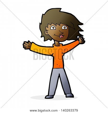 cartoon excited woman waving