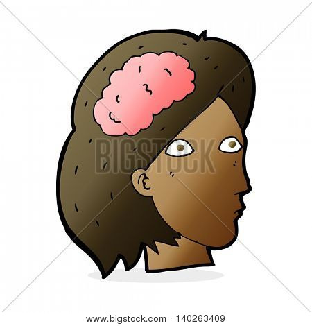 cartoon female head with brain symbol