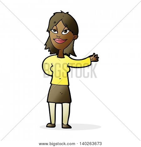 cartoon woman gesture to show something
