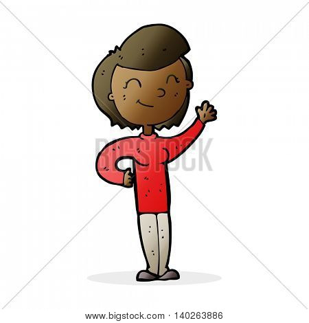 cartoon friendly waving woman