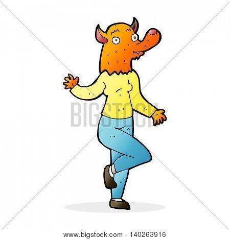 cartoon dancing fox woman