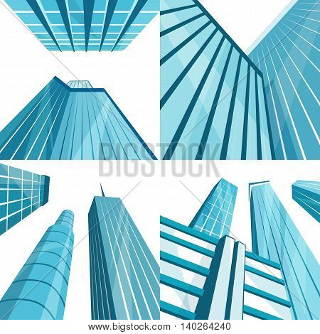 Set of modern buildings in the city. Cartoon vector illustration. Skyscrapers in downtown. Corporate architecture. Bottom view. Architecture collection
