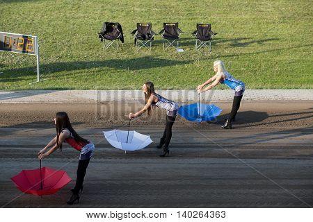 Girls For Presentation With Umbrella