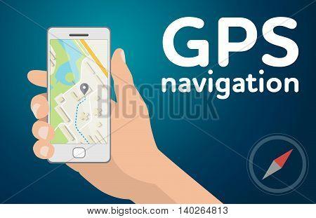 Flat design illustration Hand with mobile smartphone gps navigation map