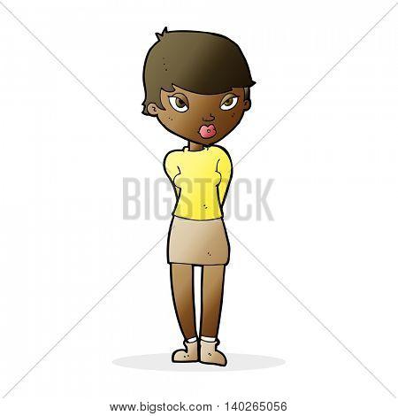 cartoon shy woman