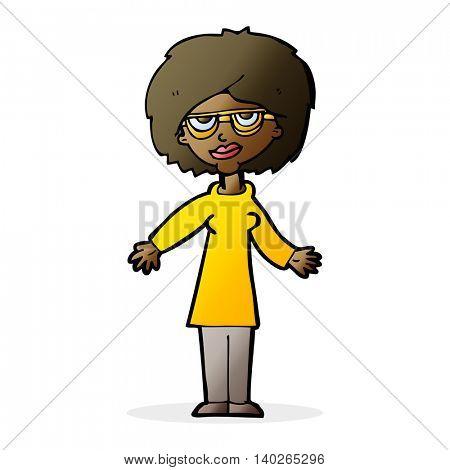cartoon woman wearing glasses