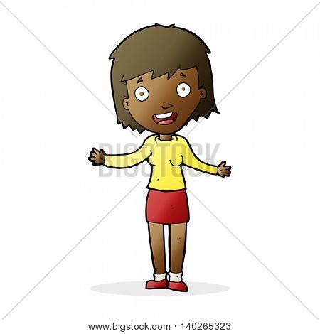 cartoon excited woman