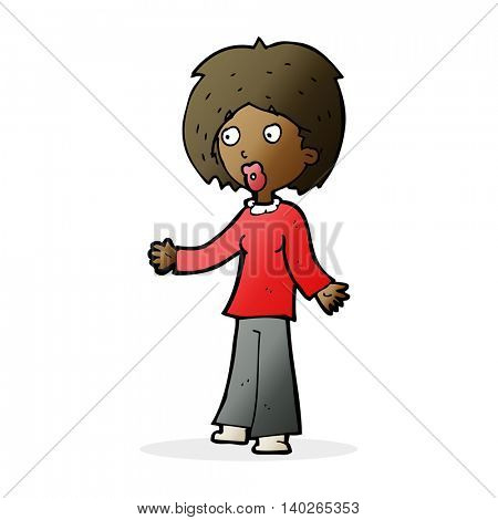 cartoon surprised woman